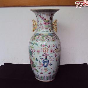 全品民国早期细路粉彩博古大花瓶一件