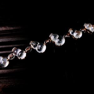 木那珍品!18K金镶5钻石玻璃种A货翡翠木那飘雪富贵葫芦手链
