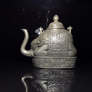欧洲回流 包老百年的镀银吉象壶