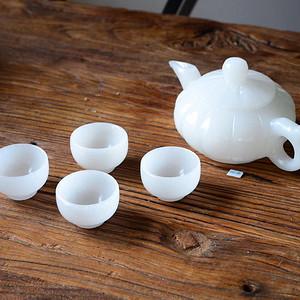 天然白玉茶壶套装