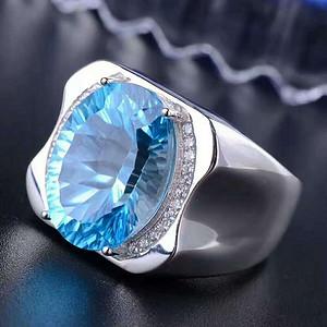 天然蓝托帕石男士戒指