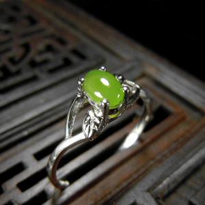 天然油润和田玉碧玉925纯银镶戒指