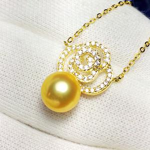 完美金珠!纯银镀14K黄金镶50锆钻天然正圆金色珍珠锁骨项链