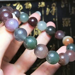 紫绿玛瑙!纯天然原矿原色无优化盐源玛瑙漂亮多彩圆珠手串!
