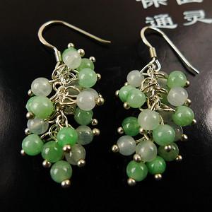 阳绿耳坠!天然A货翡翠老坑种苹果绿靓丽双彩可爱葡萄耳环一对