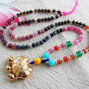 糖果色多彩碧玺!天然巴西进口碧玺圆珠项链配长命百岁铃铛锁坠!