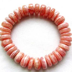 阿根廷进口!纯天然原矿无优化红纹石清新橘粉红色高档水晶手串