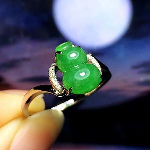 满绿钻戒!18K金镶13钻石天然A货翡翠老坑冰种满绿完美葫芦戒指
