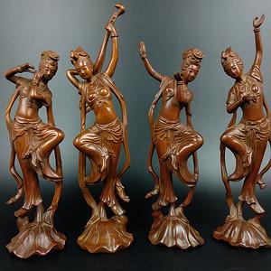 回流黄杨木雕四大美女人物摆件