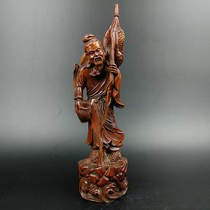 回流黄杨木雕渔翁得利人物摆件