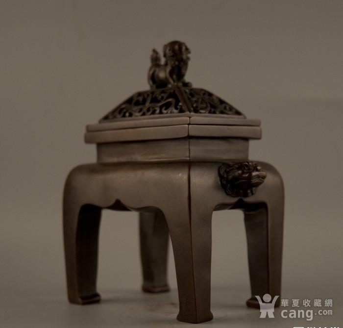 早年珍藏紫铜四足方体鼎炉图2