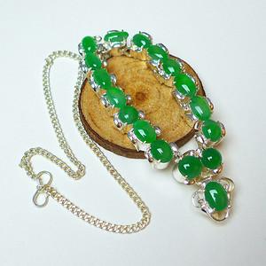 冰种满绿蛋型精美镶铜项链