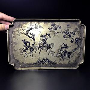 精品 清代刻铜工艺人物茶盘