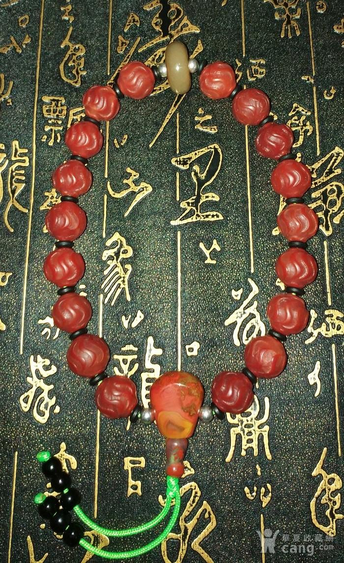 有些年份红玛瑙水波纹珠子配和田玉顶珠十八子手持图1