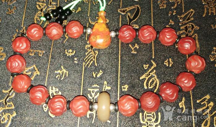 有些年份红玛瑙水波纹珠子配和田玉顶珠十八子手持图4
