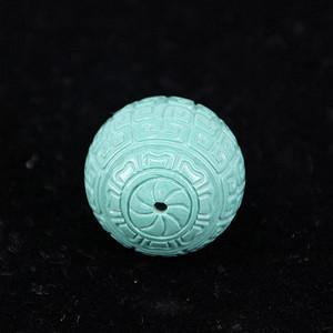收藏级精品 20mm刻花原矿高瓷高绿玉化松石珠子