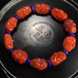 天然川料柿子红罗汉南红单圈手链