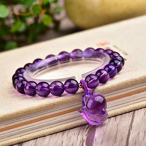 天然紫水晶萌狐狸手链