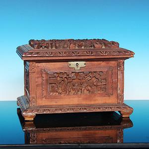 收藏级精品 清代檀香木十三行工饰品盒