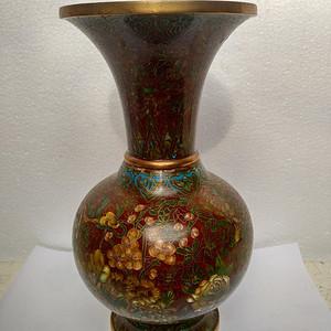 清代铜胎花卉纹瓶