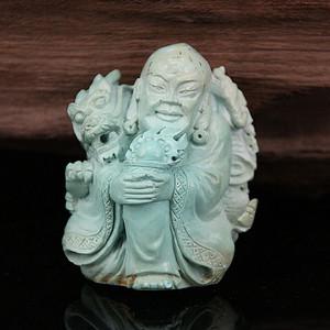 收藏级精品 65g原矿绿松石雕伏龙罗汉