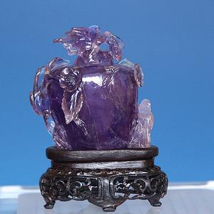 精品 清代宝石级紫晶小花瓶