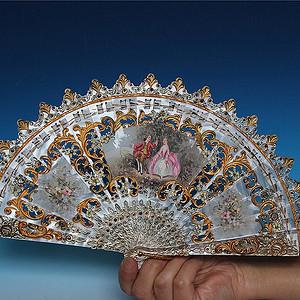收藏级精品 维多利亚时代贝雕小姐扇