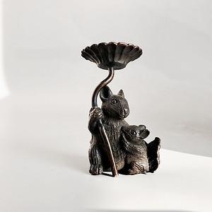 日本回流 包老百年的铜质小松鼠摆件 茶宠