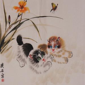 璞石款斗方动物画:双猫与蝴蝶