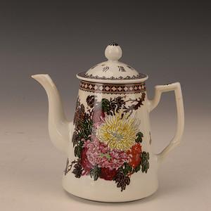 欧洲回流粉彩菊花茶壶