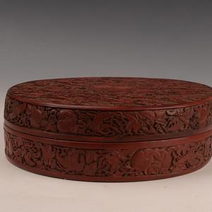 欧洲回流五福寿纹漆器盒