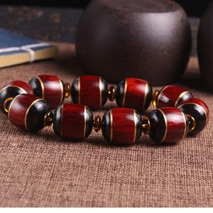 纯天然印度小叶紫檀镶嵌黑牦牛角桶珠手串