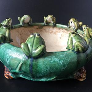 七十年代 青蛙绿釉大缸