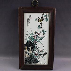 精品收藏瓷木画挂件