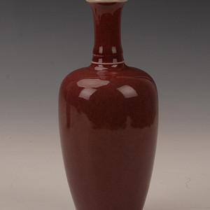欧洲回流豇豆红釉柳叶瓶