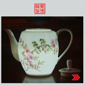 景德镇文革老厂瓷 高白泥髙白釉全手工彩绘花鸟图茶壶