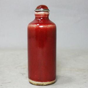 清代红釉鼻烟壶