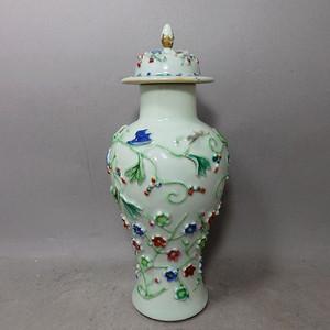 乾隆松鼠花卉堆塑梅瓶
