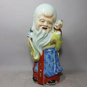 晚清茂记生造寿星童子人物塑像