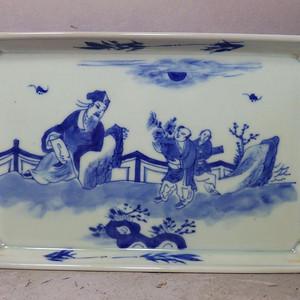 清代青花人物绘画方形茶盘