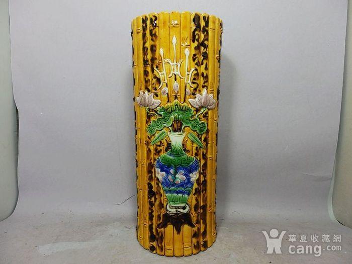 清代黄釉加彩花瓶堆塑竹节帽筒图1