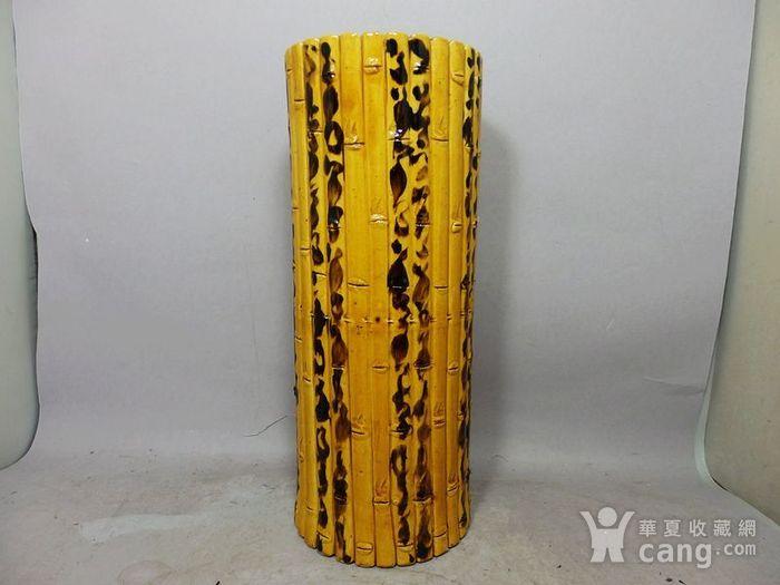 清代黄釉加彩花瓶堆塑竹节帽筒图2