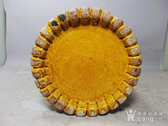 清代黄釉加彩花瓶堆塑竹节帽筒图5