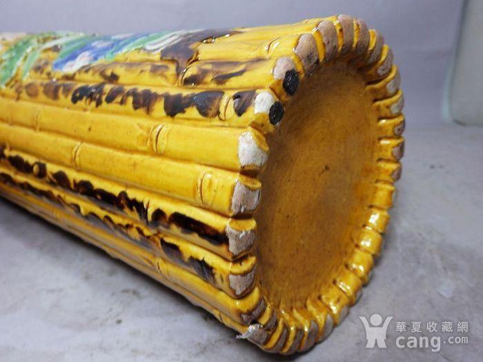 清代黄釉加彩花瓶堆塑竹节帽筒图6