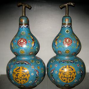回流晚清景泰蓝大型葫芦瓶一对