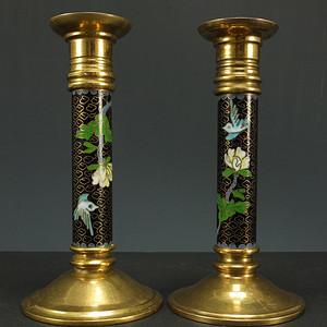 古为今用 铜胎掐丝珐琅 花绘纹烛台 一对