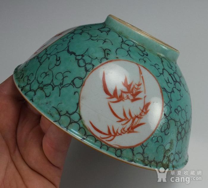 清代康熙 孔雀蓝花绘纹 大碗图9
