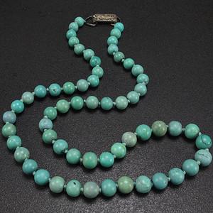天然原矿绿松石园珠项链