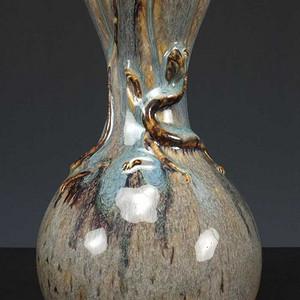 美国回流 窑变秞 盘螭龙纹  蒜苔瓶