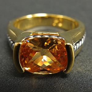 美国回流银鎏金镶嵌天然黄水晶   男女款戒指